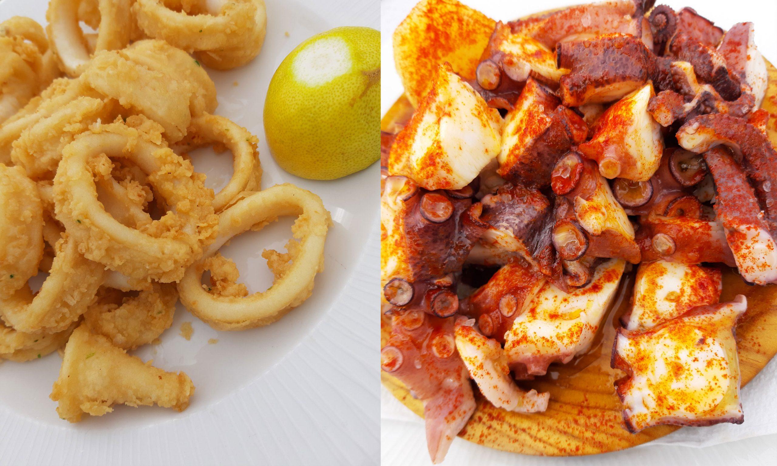 Октопод и калмари в Yenka reataurante